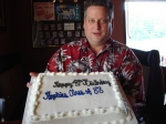 Joel Evans and a yummy cake:Happy 40th Birthday Class of 88